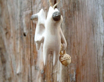 Woodland creature with his baby - wood carving, Native wall art