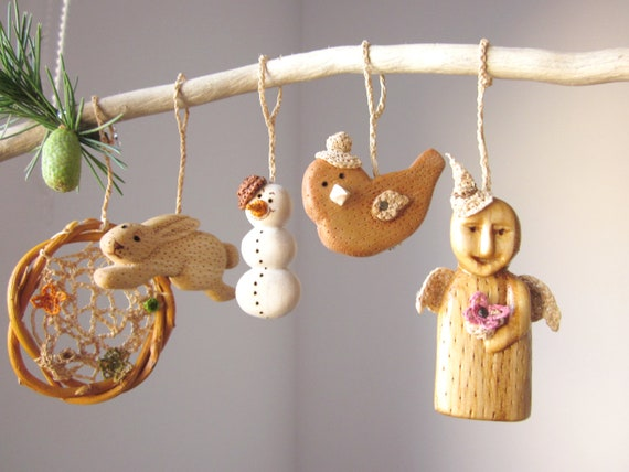 Reserved set of five christmas ornaments hand carved wooden etsy