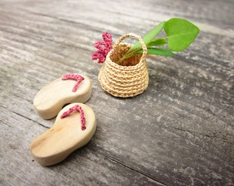 Miniature slippers with mini basket, home decor, native art, dollhouse miniature,  fairy house