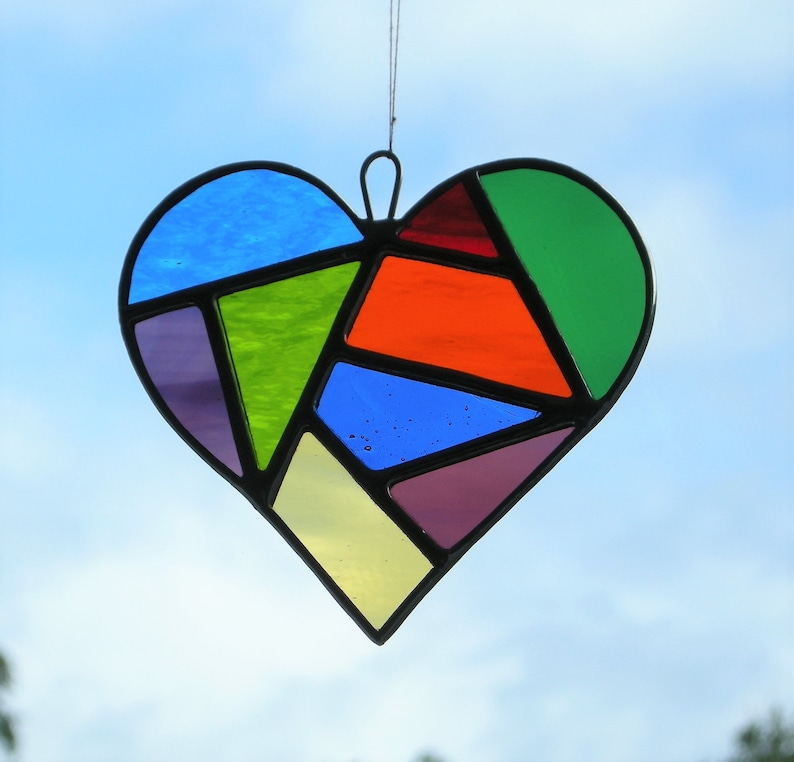 Love Heart Abstract Stained Glass suncatcher in a mixture of colours and textured glass