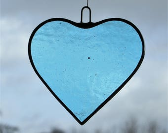 Stained Glass hanging ornament (Love Heart) light sky blue textured glass