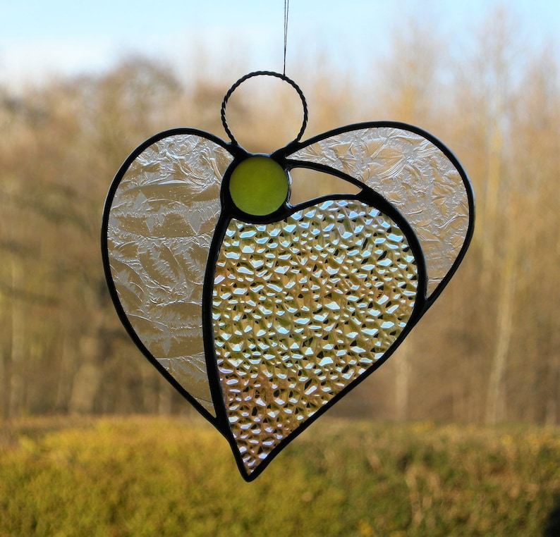 Abstract Stained Glass ornament in texturediridescent glass with yellow head Angel Heart