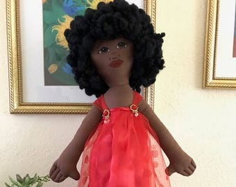 Rag Doll, Black Doll, Baby Shower, Girl's Birthday, Princess, Toy, Christmas, Valentine, Soft Toy, American Girl, Ballerina