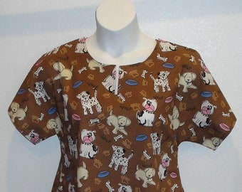 S-  Post Surgery Gown (Mastectomy - Breast Cancer - Shoulder Surgery)/ Hospice / Hospital / Breastfeeding  - Style Erin ( Dog )