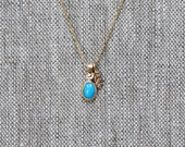 Turquoise Charm Necklace - 14k Gold Leaf Necklace - Eco-Friendly Recycled Gold
