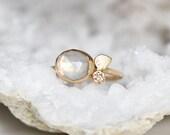 Moonstone Diamond Bloom Ring - 14k Gold Petal Cocktail Ring