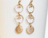 Long Diamond Daisy Chain Earrings - Gold Dangle Earrings - Eco-Friendly Recycled
