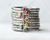 Tiny Gemstone or Diamond Stacking Ring - Gemstone 18k Yellow Gold and Sterling Silver Birthstone Rings