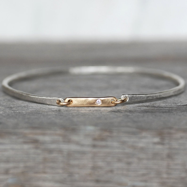d8650833e Diamond Bar Bangle Sterling Silver 14k Gold Link Bangle | Etsy