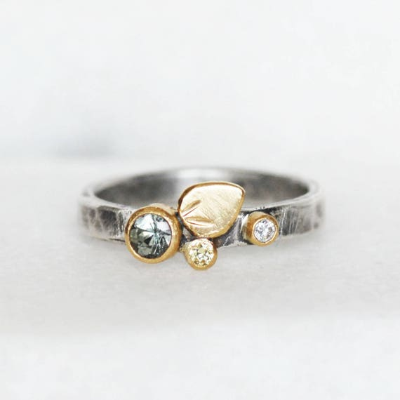 bed58af195de8 Sapphire and Diamond Bloom Ring - Green Yellow sapphire 18k Gold and  Sterling Silver Petal Stacking Ring