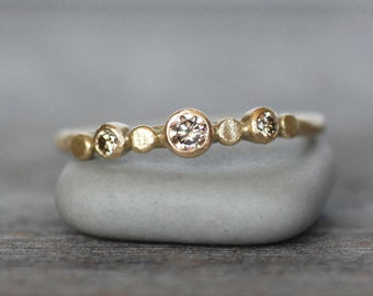 Diamond and Gold Wedding Ring - 18k Gold Pebble Engagement Ring - Eco-Friendly Recycled Gold - Choose Brown OR White Diamonds