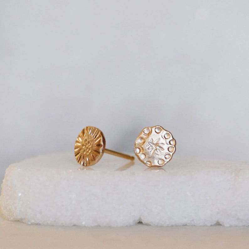 Eco-Friendly Recycled Mismatched Gold Wildflower Post Earrings Gold Disc Earrings