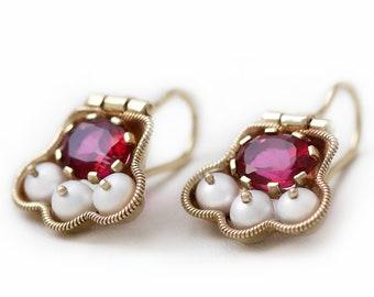 Pearl topaz gemstone anniversary statement dangle earrings, Red vintage wedding dainty drop bride earrings, 60th 50th birthday gift for mom
