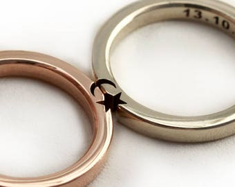 Star & Moon Rings, Custom Wedding Rings, Wedding Band Pair, Crescent Moon Rings, Unique Couple Rings in 14k Rose Gold, Men Matching Bands