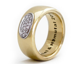 a7e9a308e3 Minimalists Promise Band, Custom Diamond Engagement Ring in 14K Yellow  Gold, Promise Rings for Couples