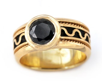 14k Gold Black stone engagement ring, Promise ring, Black engagement ring, Gothic engagement ring, Love ring, Unique gold jewellery, Goth