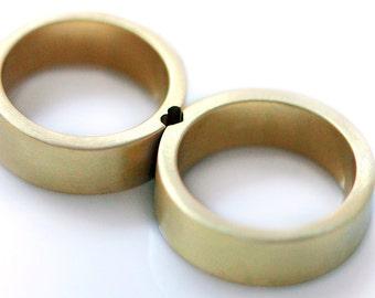 Gold Heart Rings, Mens Wedding Band, Wedding Ring Set, Couples Ring, Matching Wedding Band, Anniversary Ring, Matching Ring for Couple, Cadi
