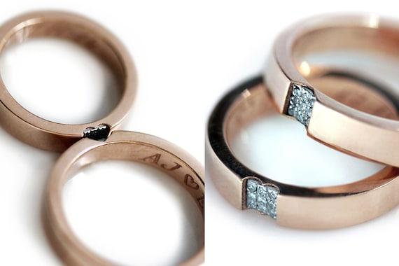 aa8d8bafa0 Men wedding band set in Pink gold 14k rose gold Promise ring | Etsy