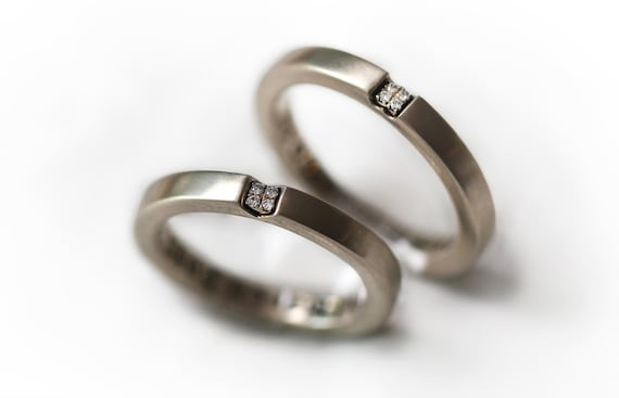 Couple Rings Thin Wedding Band White Gold Natural Look In Etsy