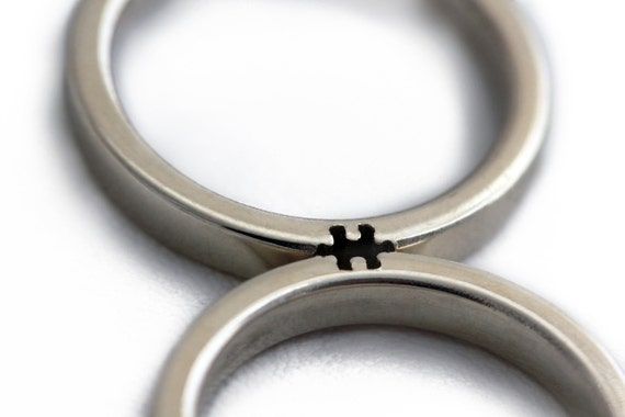 Puzzle Ring Wedding Band Sets Silver Promise Rings For Him Etsy