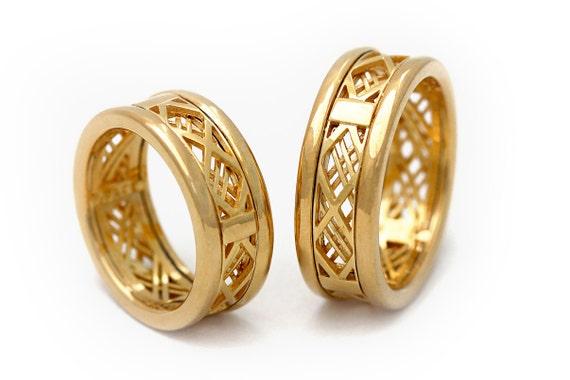 Unique Engagement Rings Set Matching Wedding Bands 14k Gold Etsy