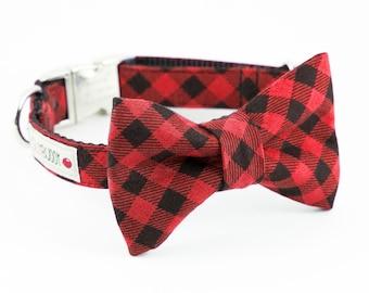 Buffalo Plaid Dog Bowtie Collar