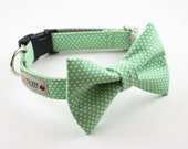 Soft Mint Dots Dog Bow Tie Collar