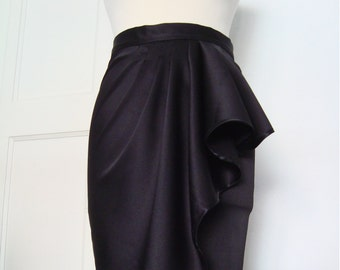 Inky Black Satin Waterfall Pencil Skirt//Hollywood Glamour// Asymmetrical Skirt, sizes XS-XL or custom made in your size