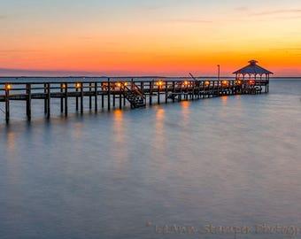 Corolla,North Carolina,Sunset,Pier,Outer Banks,North Carolina,OBX,Oversize,Wall Art, Home Decor,Canvas Option,Photography,Orange,Red