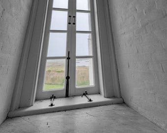 Bodie Island,Lighthouse,Window,OBX,North Carolina,Outer Banks,Black and White,Wall Art,Home Decor,Beach Decor