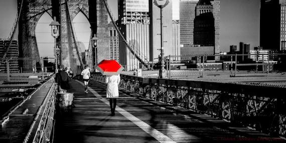 New York Citybrooklyn Bridgeblack And Whitered Etsy