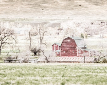Rustic Red Barn Farmhouse Print Wall Art Decor Vintage Shabby Chic Country Farm House Photography Art Print or Canvas Wrap Gift for Her