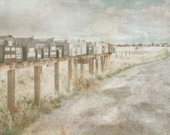 Row of Rural Mailboxes Print Montana USA Dirt Road Country Wall Art Farm and Ranch Fine Art Photo Artwork Decor American Landscape on Canvas