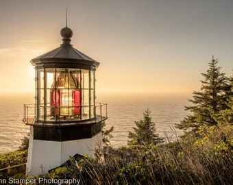 Cape Meares Lighthouse Print Oregon Coast HWY 101 Pacific Northwest  Ocean West Coast Nautical Fine Art Sunset Photography Wrapped Canvas