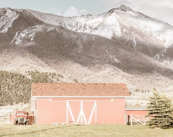 Rustic Farmhouse Red Barn Print Old Farm Pickup Truck Wall Art Decor Vintage Country Mountain Photo Art Print or Canvas Wrap Gift for Her