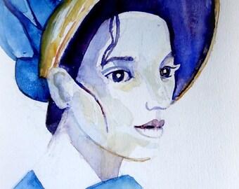 Originele aquarel van een Jane Austen achtig meisje.