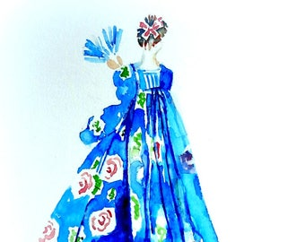 Originele aquarel. Dame in een robe à la française. Mode.