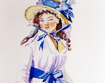 Original watercolor card. Historic fashion. Blue lady.