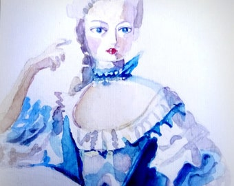 Original watercolor. Lady in blue 18-th century dress. Marie Antoinette style.