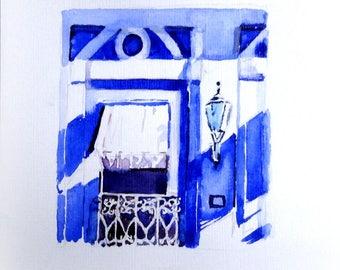 Originele aquarel. Blauw huis met balconnetje.