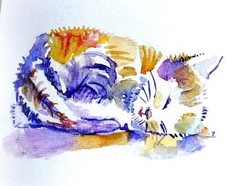 Kitten, katje. Slapend katje. Originele aquarel.