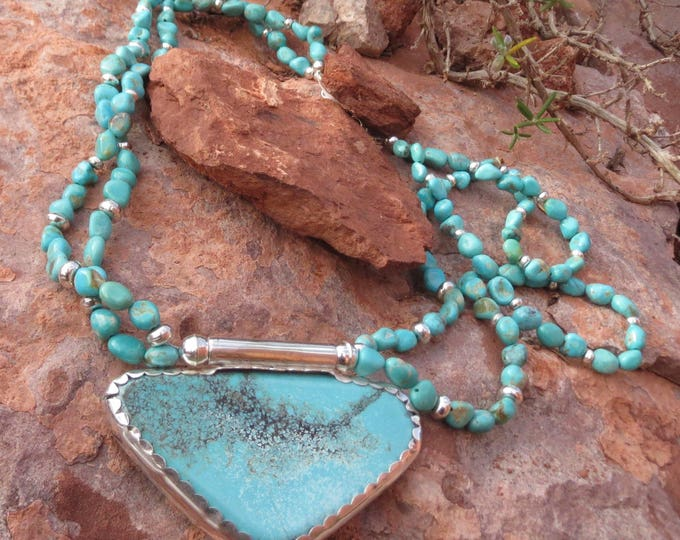 """Featured listing image: Campo Frio Turquoise """"Butterfly"""" Pendant on Matching Double Strand Necklace"""