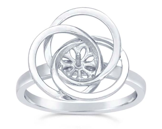 Sterling Silver Love-Knot Pearl Ring Mounting