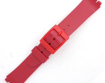 Red Silicone Generic Swatch Watch Band 14mm Wide and Fits 12mm Notched Case