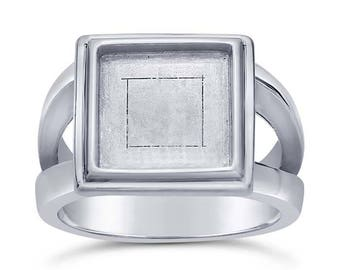 Sterling Silver 10mm Square Bezel Ring Mounting avail. in sz 7 or 8