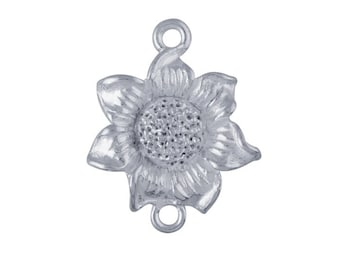 Sterling Silver 17 x 13.7mm Flower Link Component