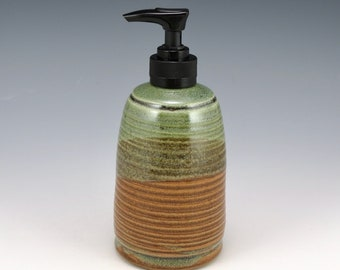 Handmade Soap Dispenser, Lotion Bottle, pump bottle, raw Sienna and heather green