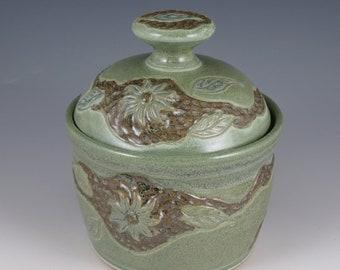 Handmade Pottery Lidded Jar, Pet treat jar, Pet Urn / Ceramic Jar with Lid / Decorative Pottery Jar with leaves