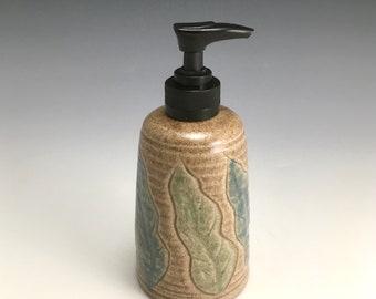 Handmade Soap Dispenser, Lotion Bottle, pump bottle, oatmeal color with leaves.