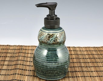 Handmade Soap Dispenser, Lotion Bottle, pump bottle,  blue with leaves.